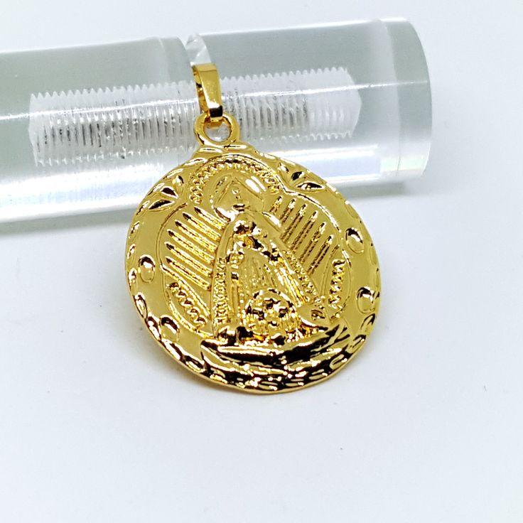 1-2295-g7 Gold Overlay Caridad del Cobre Medallion. 27mm.
