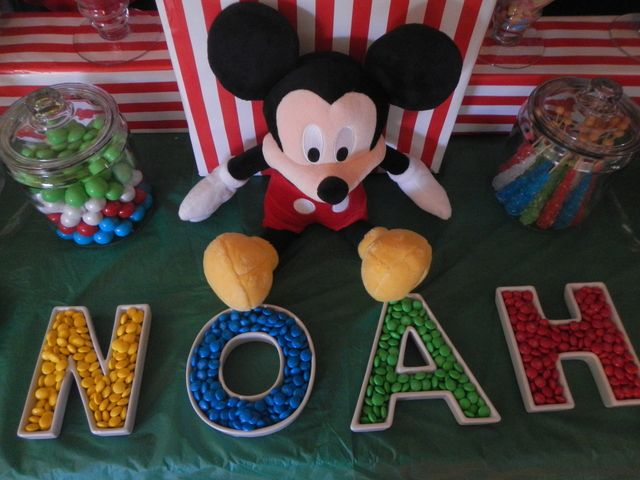 Love these candy letter dishes at this Mickey Mouse birthday party! See more party ideas at CatchMyParty.com.