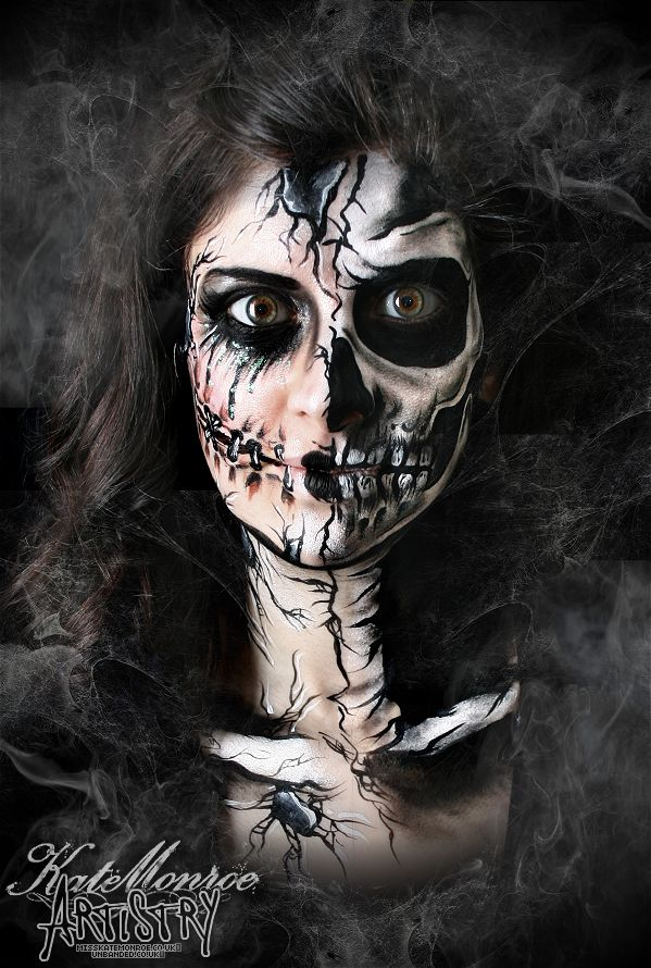 Halloween face Paint Body Art Scary Broken Doll Skull Skeleton