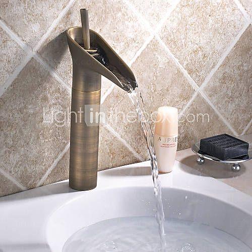 grifo del fregadero cuarto de baño de estilo vintage latón antiguo baño grifo del fregadero de altura - EUR € 80.06