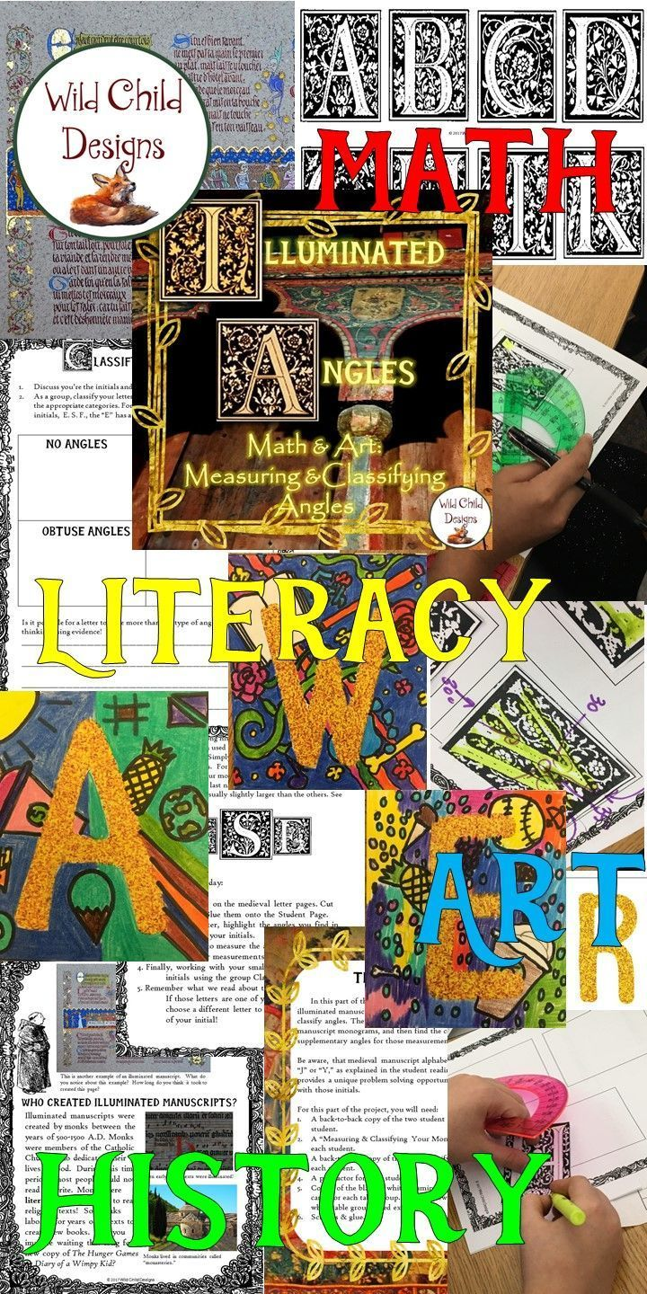 My kids adored this integrated project! Students read informational text about illuminated manuscripts and monograms. Using medieval-styled lettering, they measure the angles in their own monograms, classify the angles and explore supplementary and compl
