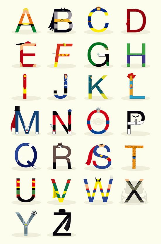 The superhero alphabet, at Lishoff's Flickr