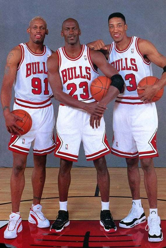 Dennis Rodman, Michael Jordan and Scottie Pippen