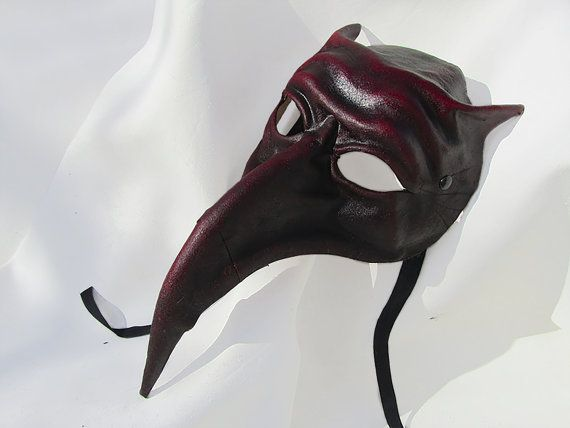 Turkish nose mask dark leather costume larp by MaschereFabula
