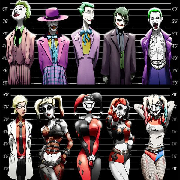 Joker and Harley Quinn Line-Ups. 2 11x17 Prints, discount price. (£14) ❤ liked on Polyvore featuring home, home decor and wall art