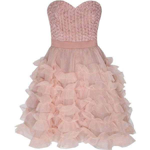 Light Pink Ruffle Detail Prom Dress (€105) ❤ liked on Polyvore featuring dresses, pink, pink cocktail dress, ruffle prom dress, ruffled dresses, pink dress and party dresses