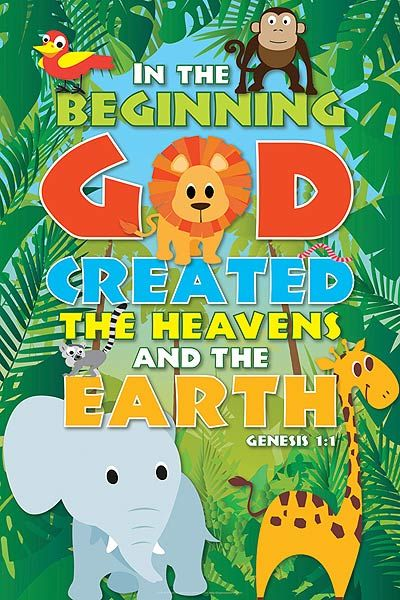Inspirational Christian art poster for kids with images of animals. Order this poster here: http://www.lifeposter.org