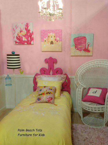 Beach ocean themed bedroom for girls pink and yellow for Beach theme bedroom ideas for girls