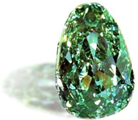 Dresden Green: green fancy, 49.21 carats, pear cut. Possibly Brazil, 1720s. The largest green diamond known. Taken to Moscow after the Secon...