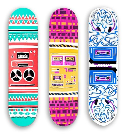 i like these designs because they are all uniquely different with various patterns and designs - Skateboard Design Ideas