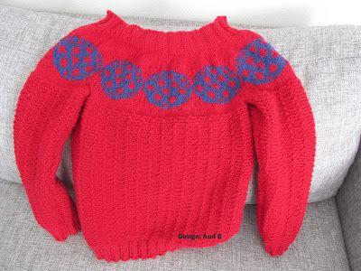 Strikket genser til barn. Colourwork sweater for kids. Knittet.