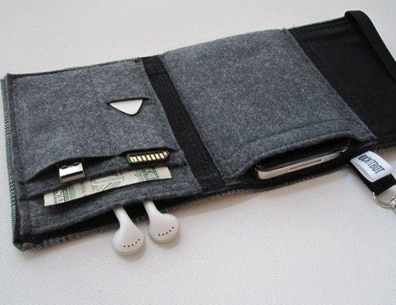 Nerd Herder gadget portefeuille en adapté - iPhone, Droid, iPod, téléphone cellulaire, écouteurs, cartes SD, étui à guitare pick