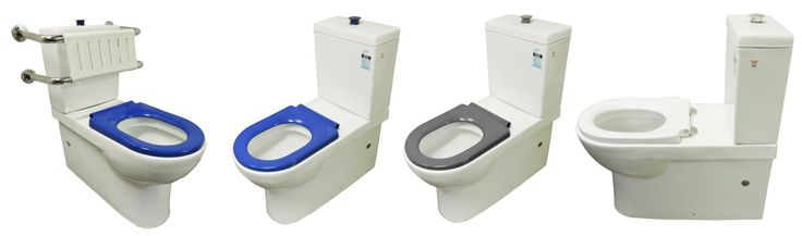 Disabled / Assisted Living Back to Wall Toilet Suite P/S Trap 90-280mm (Note: back rest is sold as a separate item) with blue toilet seat and blue raised flush button from Bathrooms and Kitchens Builders Express Underwood, website www.bathroomsnkitchens.com.au