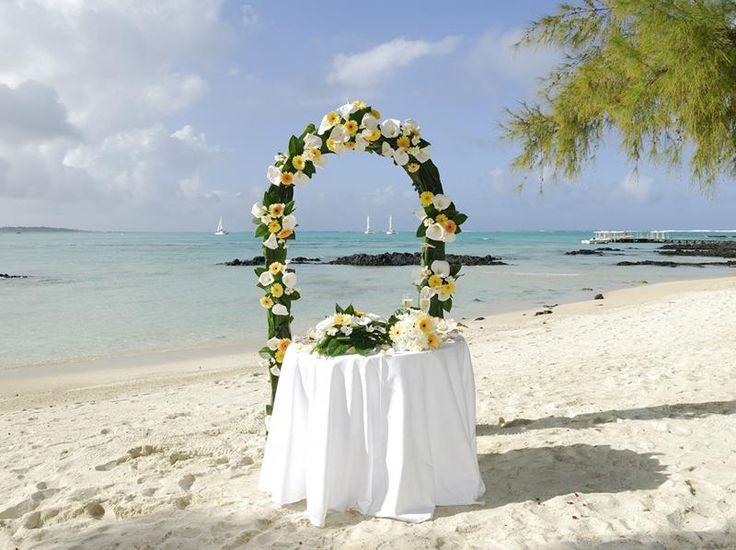 Tropical island beach wedding