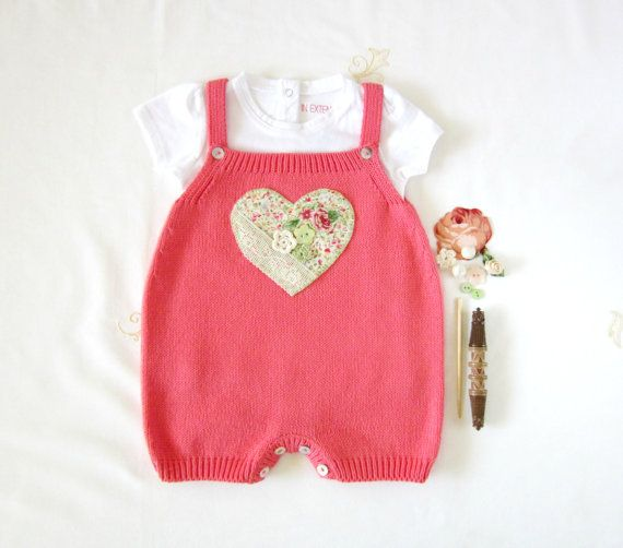 Knitted overalls in coral with a patchwork heart. Baby girl. 100% cotton. READY TO SHIP size 3-6 months.