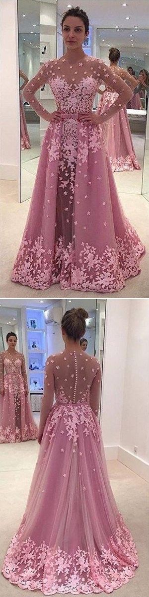 Sheer Sleeves Lace Appliques A-line Tulle Prom Dresses 2017