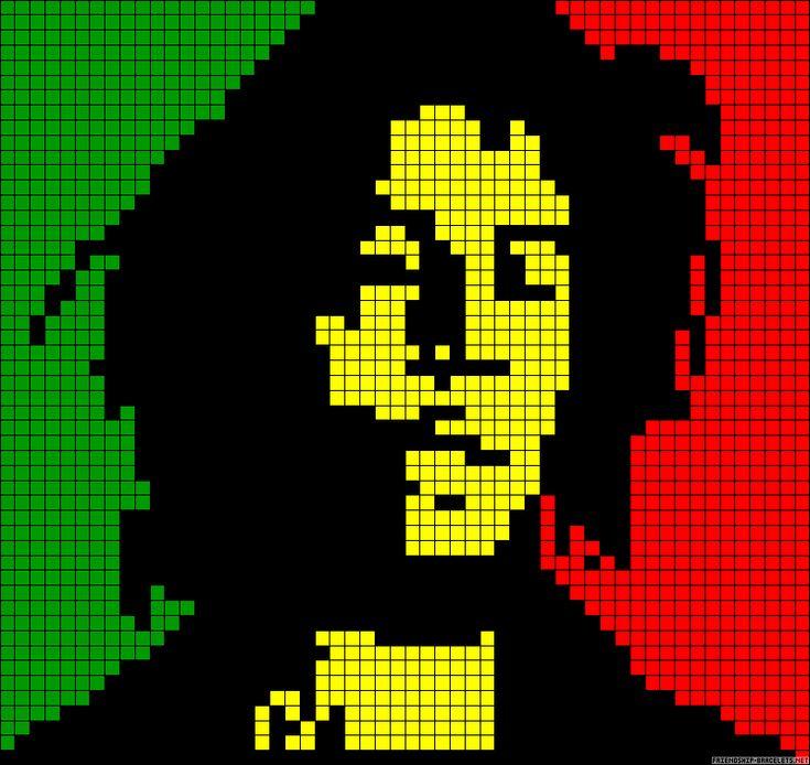 Pixel bob marley knit crochet loom knit pinterest