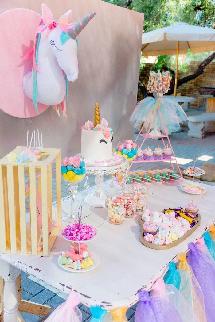 Unicorn Themed Dessert Table From A Rainbows And Unicorns Birthday Party On Kara S Unicorn Desserts Rainbow Birthday Party Decorations Unicorn Birthday Parties
