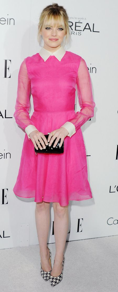 Fuchsia pink Valentino dress - Emma Stone red carpet celebrity style - handbag.com