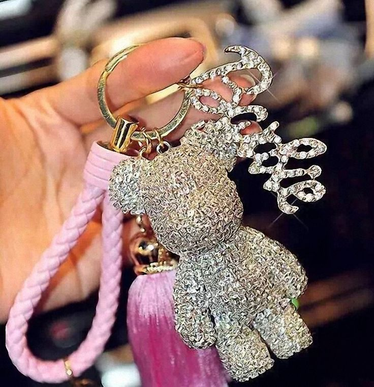 Bomgom Tassels Crystals Popobe Gloomy Bear Keychain Car Key Holder Bag Charm Holder Key Chain Key Ring Pendant Fo-K025-white