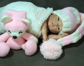 Touca, mantinha e urso para Newborn