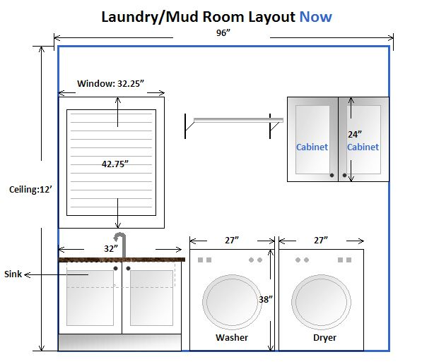 Laundry room layout with measurements google search for Mudroom dimensions