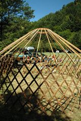 camping yurts! Fun. We need a new tent. Maybe a yurt upgrade? With a composting toilet? Hmmmm.