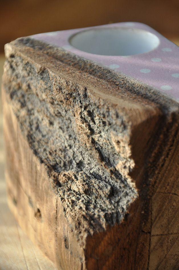 Stare drewno w groszki - różowy świecznik - OLDTREE - Świeczniki