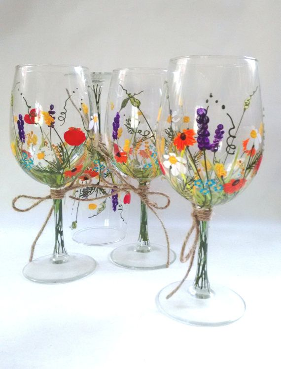 wine glasses hand painted wine glasses keepsake gift idea bridesmaid gift wedding gift bouquet of wildflowers set of 4 - Wine Glass Design Ideas