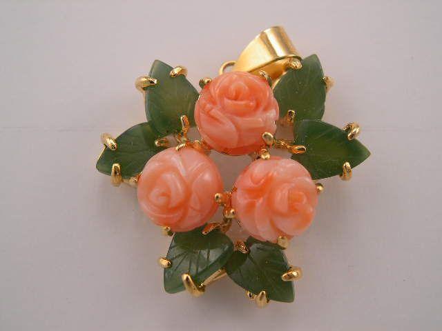 pink coral rose and jade leaf pendant