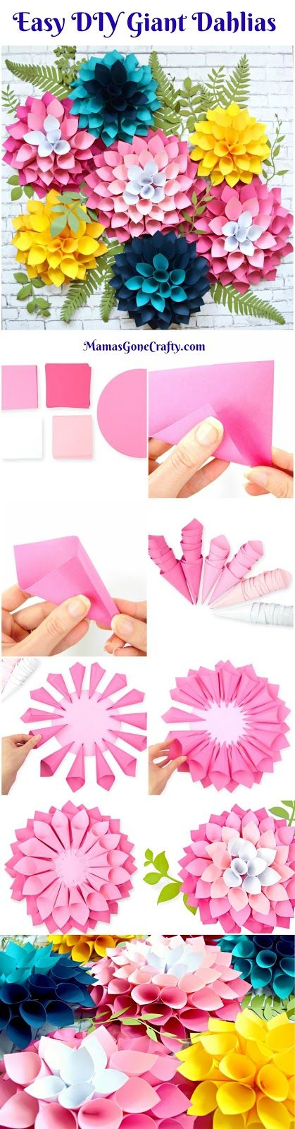 How to make giant paper flower dahlias. Flower Templates. DIY Paper Flowers. How to make a flower wall.