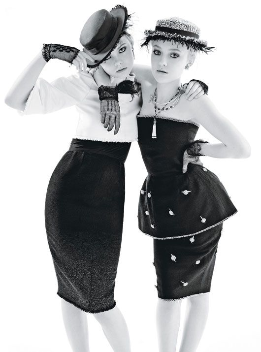 Photo of Dakota Fanning and Elle Fanning by Mario Sorrenti, styled by Lori Goldstein; W Magazine December 2011.
