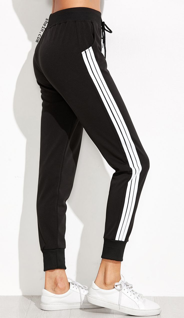 Sweat sport pant for fall. Midi waist u0026 black striped side. Cute pant! | Spotlights | Pinterest ...