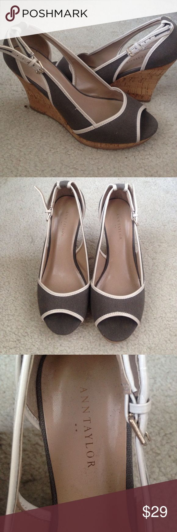 Ann Taylor gray wedge peep toe heels shoes, 6.5m Ann Taylor gray wedge peep toe heels shoes, 6.5m, 3.3 inch heel, great condition Ann Taylor Shoes Wedges