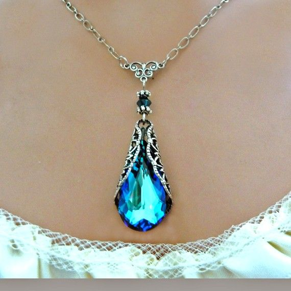 http://rubies.work/0422-sapphire-ring/ Blue Crystal Necklace Victorian Vintage Style Antique Silver Swarovski With Free Earrings