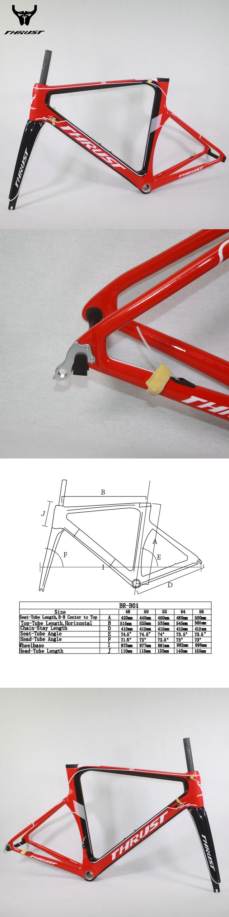 THRUST Carbon Road Frame 49 52 54 56 58cm 2017 China Red Orange Yellow Black White Carbon Frame Road Bike Parts For Bicycle