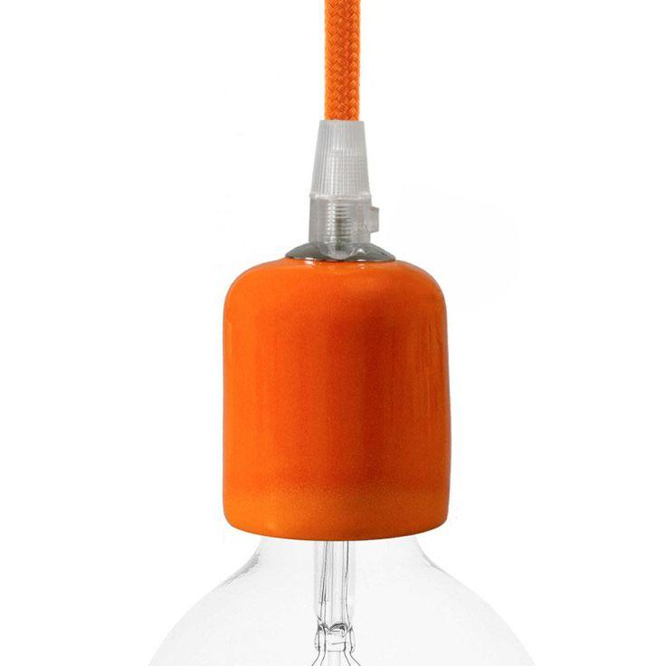 Comprar | Portalámparas cerámico E27 naranja esmaltado | Fundas decorativas cerámica #decoracion #iluminacion #accesorioslamparas #accesoriosiluminacion #lamparas #fabricartulampara