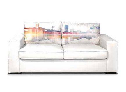 Divano VISION SKYLINE ecopelle bianco, collezione Paul Melly (Mercatone Uno)