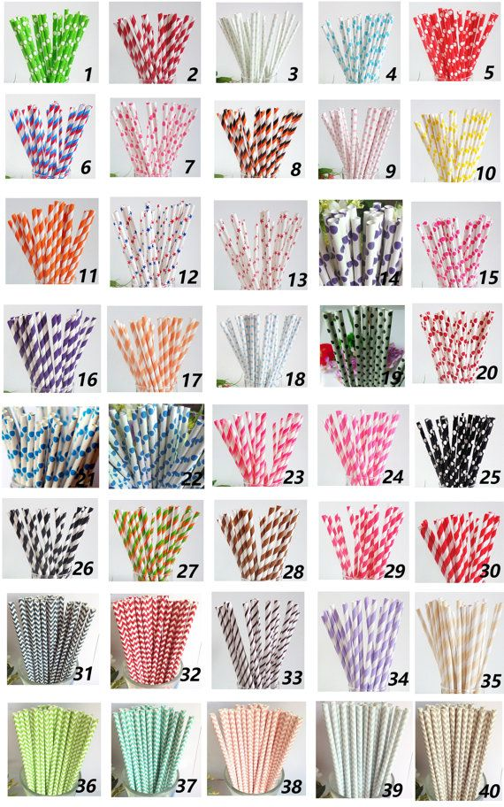 Colored Striped Star Dots Chevron Paper Straws by PartySupplier4U, $12.95. Also...Target sells striped paper straws now!