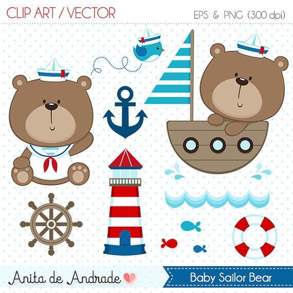Marinero oso Digital Clipart Vector - personales y uso comercial - azul y rojo…