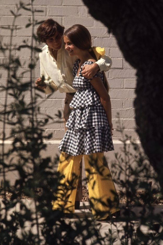 Aside from the creepy guy, love the black and white gingham with yellow -- 15 Groovy Photos Of High School Fashion In 1969