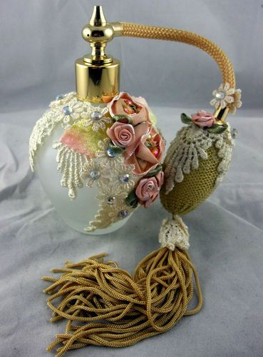 Vintage Perfume Frosted Glass Bottle with Atomizer, Lace, Flowers, Fringe
