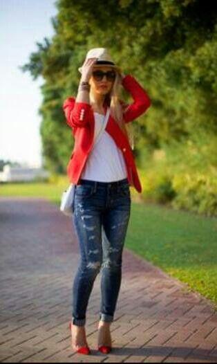 Saco rojo outfit