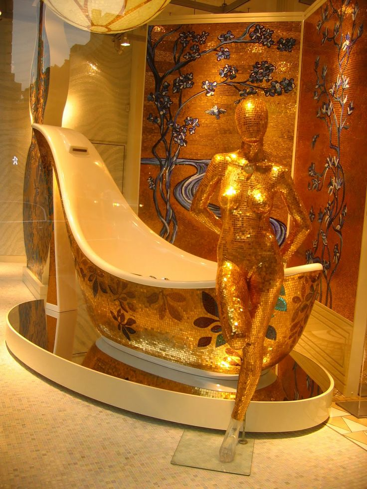 Gold And Blue Mosaic Shoe Tub By The Italian Based Sicis
