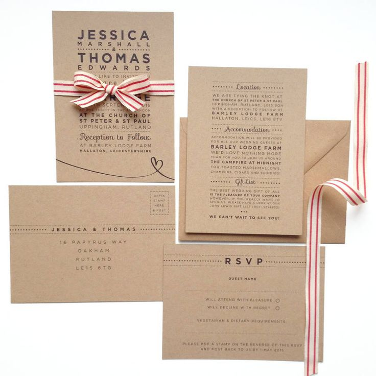 rustic style wedding invitation with stripe ribbon