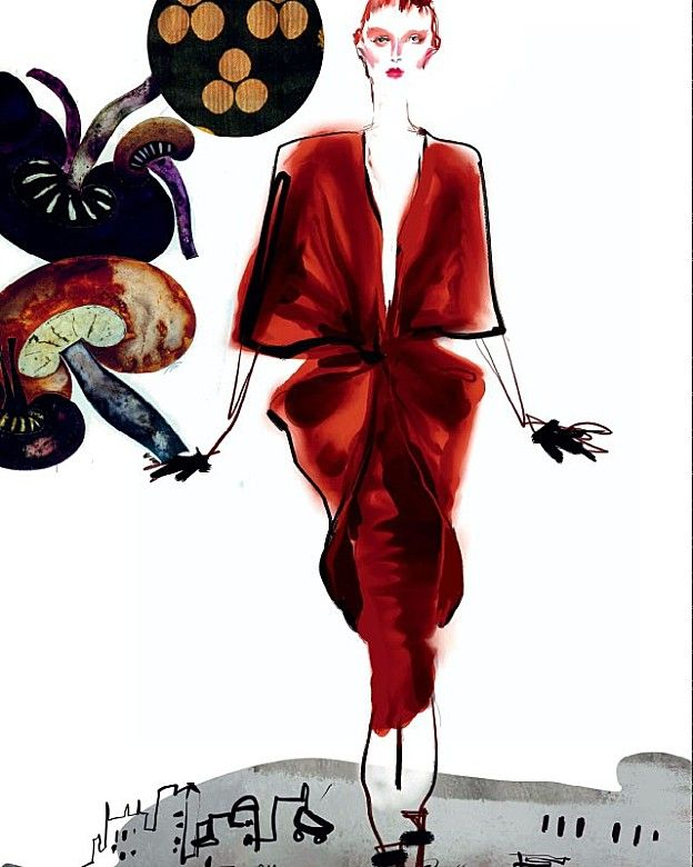 CHRISTIAN LACROIX Sketches about FASHION WEEK for TANK MAGAZINE