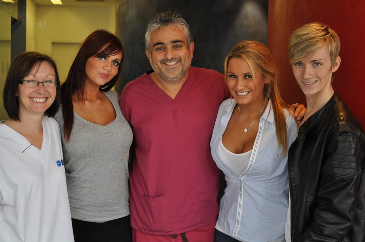 Amy Childs, Sam Faiers and Harry Derbidge with Jeremy after filming.