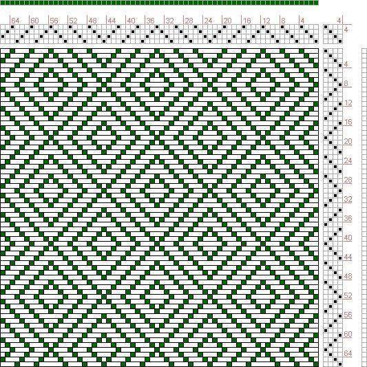 G. H. Oelsner | A Handbook of Weaves | diamond twill | 1915 | 4-shaft, 4-treadle
