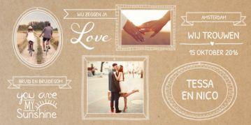 Stoere langwerpige trouwkaart met bruin kraftpapier achtergrond en hippe witte kaders met jullie foto's erin. Leuke banners en teksten die je zelf kunt aanpassen.