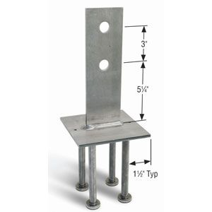 Also, a knife plate/stand-off combination is even better. It insures a strong hold-down connection to the foundation. It's basically, a tongue of metal perpendicular to a plate which is embedded into the concrete. The tongue has a hole(s) drilled in it. The column gets routed to accommodate the tongue, and - very tricky - a hole is drilled perpendicular to the slit and after assembly is through-bolted.